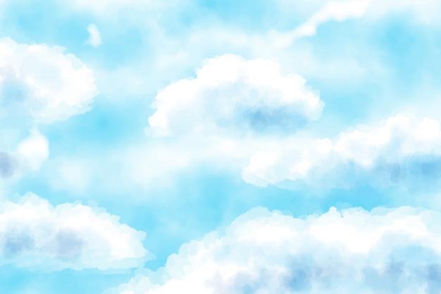 Bewölkter hintergrund des blauen himmels des blauen aquarells