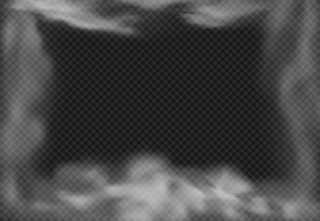 Bewölkter rahmen, rauchiger nebel, raucheffekt und realistische nebelwolken lokalisiert