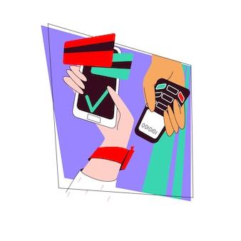 Bezahlen der rechnung über das smarthone nfc-modul