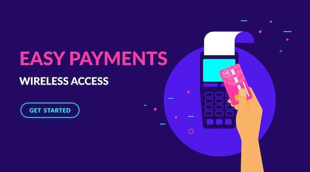 Bezahlen sie drahtlos per kreditkarte und einfache flache vektor-neon-illustration für ui ux-webdesign mit text