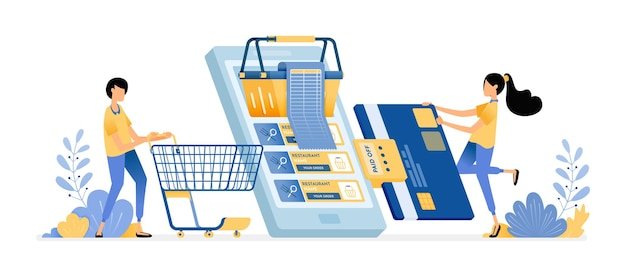 Bezahlen sie einkaufsrechnungen mit kreditkarte. menschen, die mit mobilen apps in online-supermärkten einkaufen