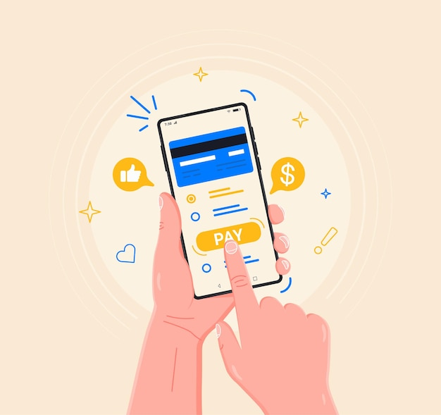 Bezahlen sie mobiles bezahlen für den einkauf von warendienstleistungen mit dem smartphone