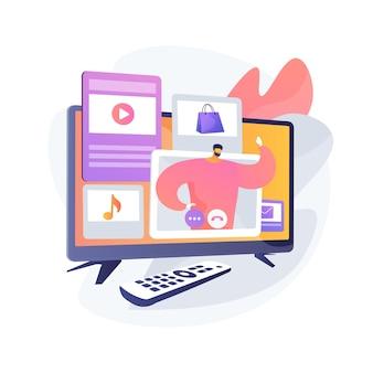 Bezahlte programmieridee. commerce-rundfunk. smart television, tv-fernbedienung. infomercial, fernsehwerbung, modernes teleshopping. vektor isolierte konzeptmetapherillustration