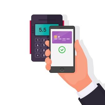 Bezahlung für den kauf per smartphone. kontaktloses bezahlen