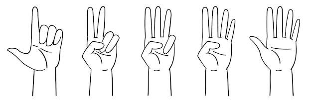 Bezeichnung von zahlen mit handgesten zählen bis fünf hände vektorillustration isoliert