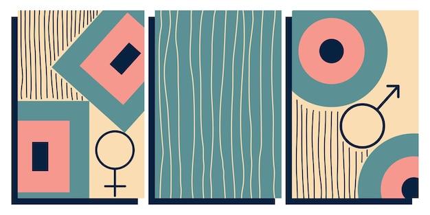 Bezüge im retro-vintage midcentury modern style design abstrakte geometrische formen streifen