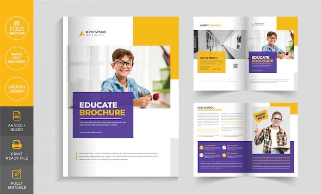 Bi-fold-broschürenvorlage des bildungsunternehmens