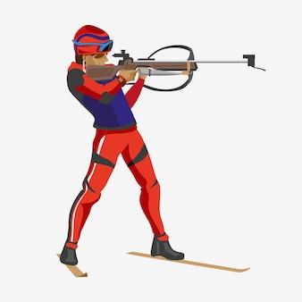 Biathlon, mann, schießend stehend mit einem gewehr, das auf weiß isoliert wird. flach gezeichnet.