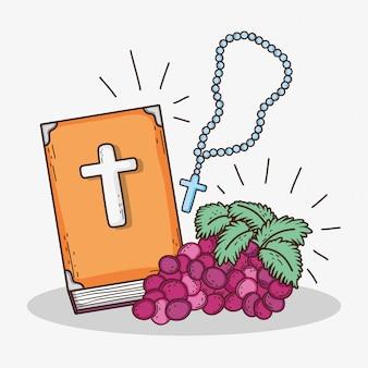Bibble mit rosenkranzkreuz und traube zur erstkommunion