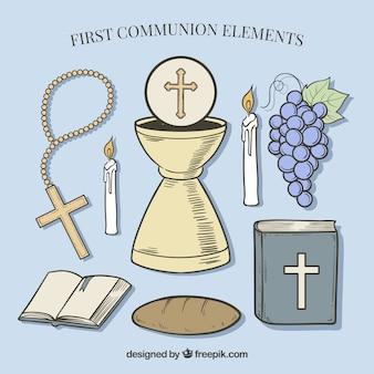Bibel mit verschiedenen elementen der ersten kommunion