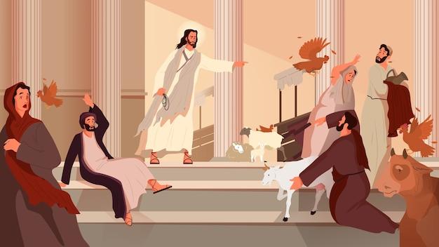 Bibelerzählungen über die reinigung des tempels. jesus vertreibt