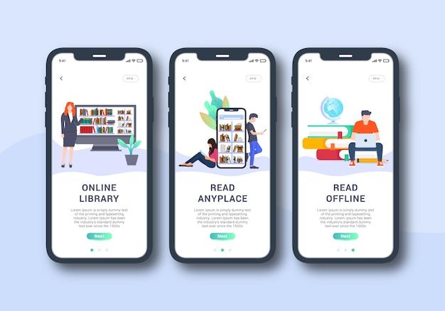 Bibliothek app set onboarding-bildschirm mobile ui-design