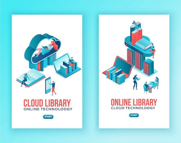 Bibliothek online isometrisch, cloud computing mobile vorlagensatz