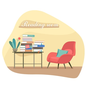 Bibliothek. platz zum lesen. lesezimmer