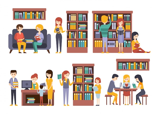 Bibliothek und buchhandlung mit menschen, die sich für die auswahl von büchern entscheiden