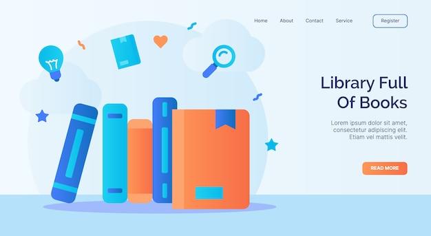 Bibliothek voller bücher buchikone kampagne für web-homepage homepage landing template banner mit cartoon flat style.