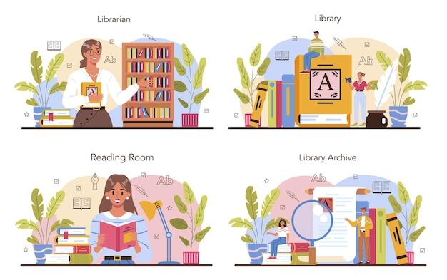 Bibliothekar-konzeptsatz. bibliotheksmitarbeiter katalogisieren und sortieren bücher
