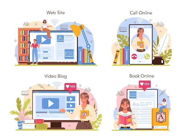 Bibliothekar-online-service oder plattform-set bibliothekspersonal katalogisierung