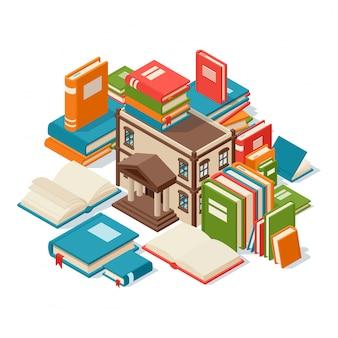 Bibliotheksgebäude umgeben von büchern, konzept des lesens und der bildung