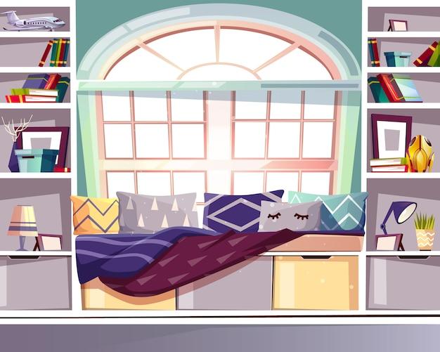 Bibliotheksillustration des buchtbogenfenstersitzes zu hause. interieur im französischen provence-stil