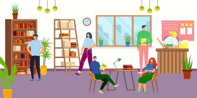 Bibliotheksinnenraum mit menschen, lesebüchern, studenten, wissens- und bildungsillustration. bibliothekar und menschen, die miteinander kommunizieren, während sie bücher, universitäts- oder schulbibliothek nehmen.