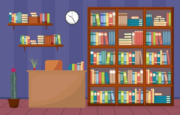 Bibliotheksraum-innenstapel des buches auf bücherregal-flachem design