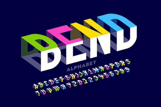 Biegen des 3d-schriftdesigns, des typografie-designs, der buchstaben und zahlen des alphabets
