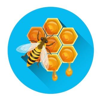 Biene auf bienenwaben-bienenhausikonen-vektor-illustration