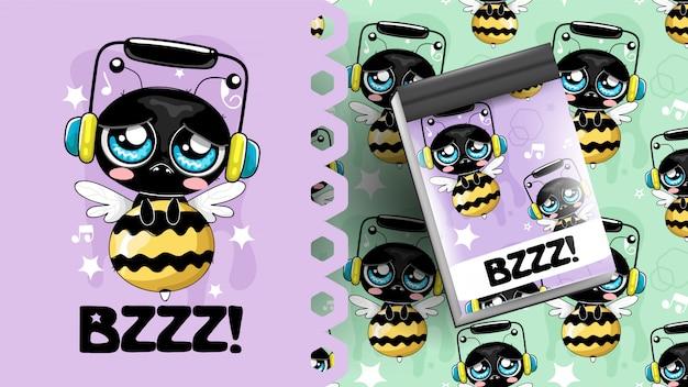 Biene hört musikideen für notizbuch und muster