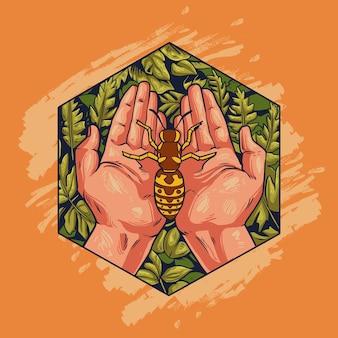 Biene in der hand