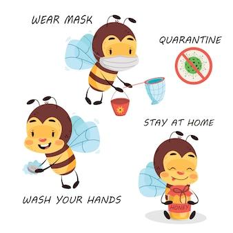 Biene ist auf quarantäne auf weißem isoliertem hintergrund. coronavirus-zeichenwarnung für kinder