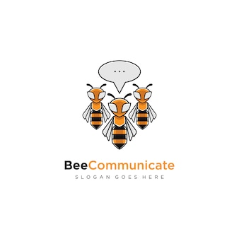 Biene kommunizieren modernes logo-konzept