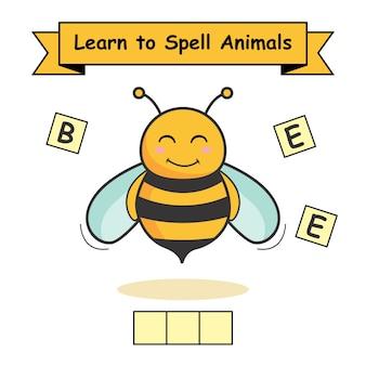 Biene lernen, tiere zu buchstabieren
