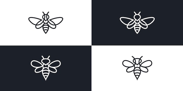 Biene logo vektor icon linie umriss monoline illustration premium-vektor