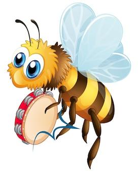 Biene mit tamburin-musikinstrument