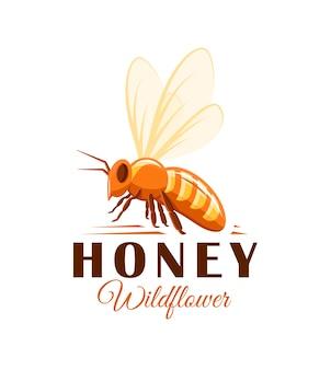 Biene, seitenansicht auf weißem hintergrund. honigetikett, logo, emblemkonzept. illustration