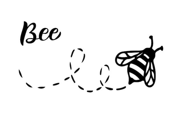 Biene symbol leitung vektorgrafik. grafisches logo des insekts, einfaches doodle-emblem. handgezeichnete honigbiene isoliert auf weißem hintergrund. queen-symbol-umriss-design. minimalistische schwarze kunst des käfers.