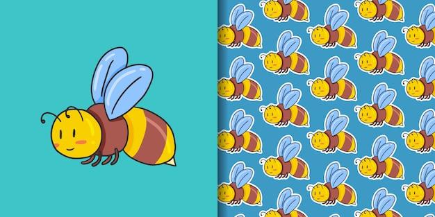 Biene und nahtloses muster auf blau