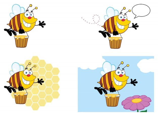 Biene zeichentrickfigur maskottchen