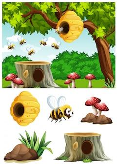 Bienen, die herum bienenstock im park fliegen