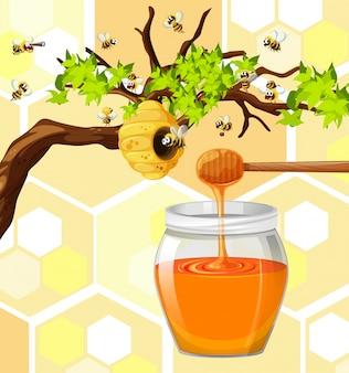 Bienen, die um bienenstock fliegen