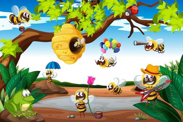 Bienen fliegen um den baum herum