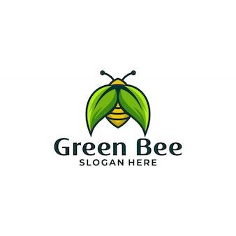 Bienen- und blattlogodesignvektor