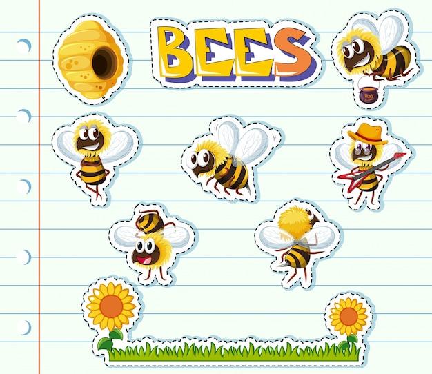 Bienen und blumengarten auf linienpapier
