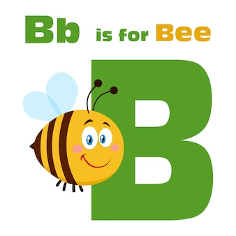 Bienen-zeichentrickfilm-figur-biene, die über buchstaben b und text fliegt. abbildung wohnung isoliert