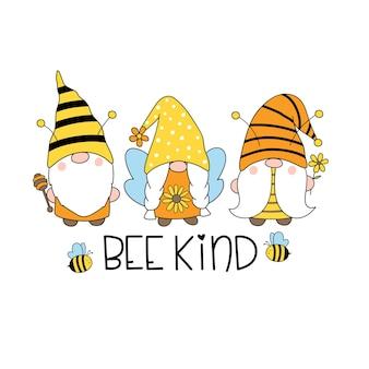 Bienenart nette bienenzwerge happy bee gnome vector hand gezeichnete illustration