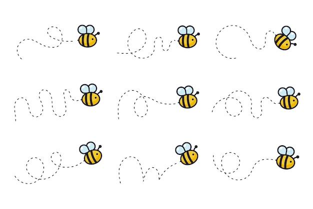Bienenflugweg. eine biene fliegt in einer gestrichelten linie die flugbahn einer biene zum honig.