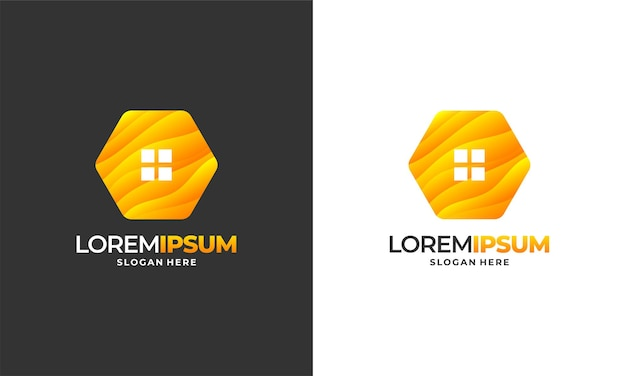 Bienenhaus-logo entwirft konzeptvektor, honig-haus-farm-logoschablonenvektorillustration