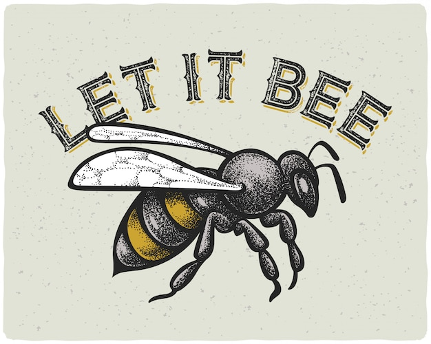 Bienenillustration mit text