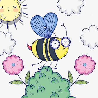 Bieneninsektentier mit blumen und wolken